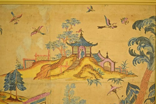Italian Polychrome Tempera on Paper Chinoiserie Painting -