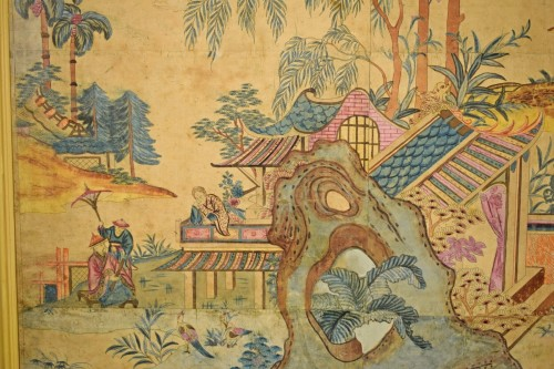 - Italian Polychrome Tempera on Paper Chinoiserie Painting