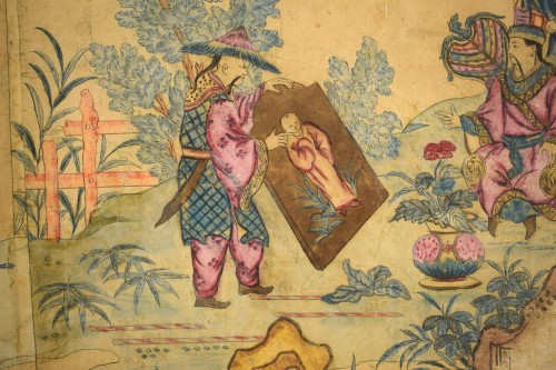 Antiquités - Italian Polychrome Tempera on Paper Chinoiserie Painting