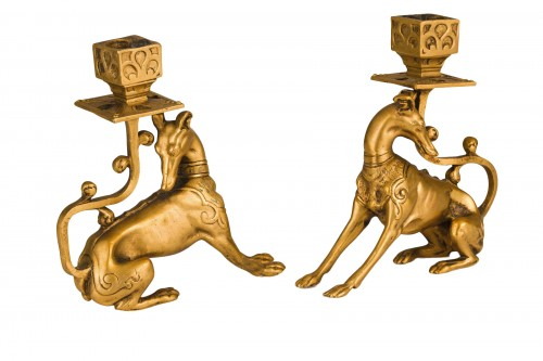 19th Century Pair of French Gilt Bronze candle holder with Greyhound