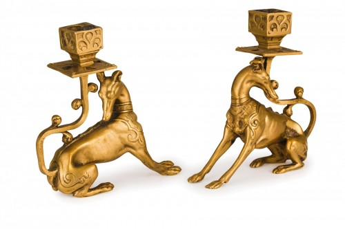Antiquités - 19th Century Pair of French Gilt Bronze candle holder with Greyhound