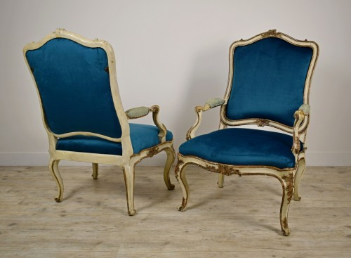 Seating  - 18th Century, Pair of Italian Lacquered Silver Carved Wood Armchairs