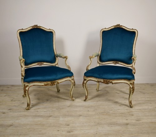 18th Century, Pair of Italian Lacquered Silver Carved Wood Armchairs  -