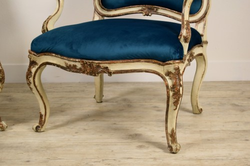 18th Century, Pair of Italian Lacquered Silver Carved Wood Armchairs  - Louis XV