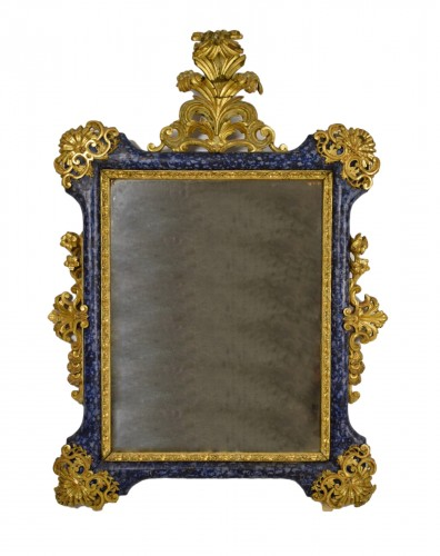 18th Century, Italian Baroque Lacquered giltwood Mirror