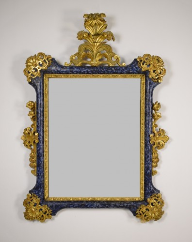 18th Century, Italian Baroque Lacquered giltwood Mirror  - Mirrors, Trumeau Style French Regence