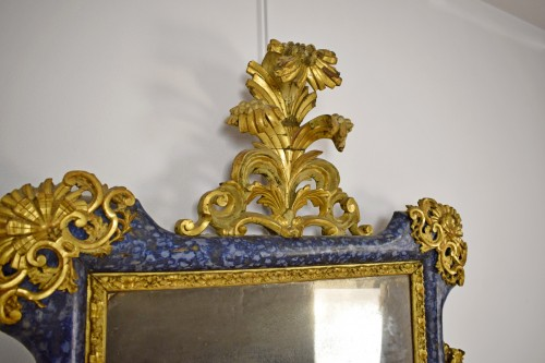 Mirrors, Trumeau  - 18th Century, Italian Baroque Lacquered giltwood Mirror