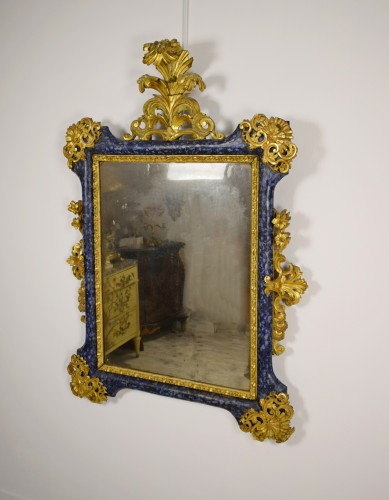 18th Century, Italian Baroque Lacquered giltwood Mirror  -