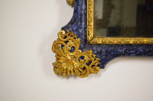 18th century - 18th Century, Italian Baroque Lacquered giltwood Mirror