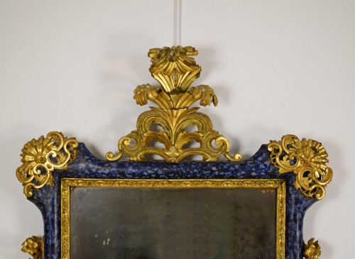 18th Century, Italian Baroque Lacquered giltwood Mirror  - French Regence