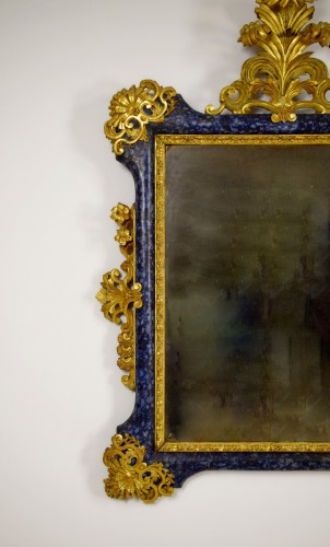 French Regence - 18th Century, Italian Baroque Lacquered giltwood Mirror