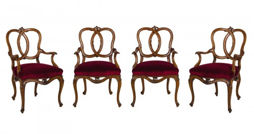 18th century Four Venetian Carved Walnut Wood Armchairs