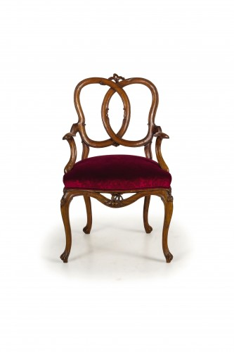 18th century Four Venetian Carved Walnut Wood Armchairs  -