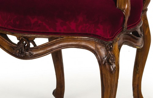 18th century Four Venetian Carved Walnut Wood Armchairs  - Louis XV