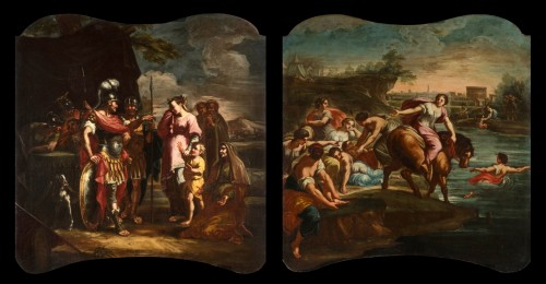 Coriolano Veturia and Volumnia, Clelia crosses the Tiber - 18thc Italian painter - Paintings & Drawings Style