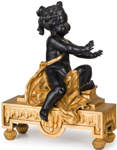 Decorative Objects  - 19th Century, Pair of French gilt and dark patina bronze fireplace chenets