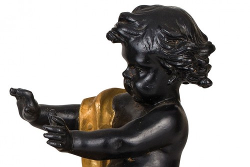 - 19th Century, Pair of French gilt and dark patina bronze fireplace chenets