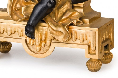 Antiquités - 19th Century, Pair of French gilt and dark patina bronze fireplace chenets