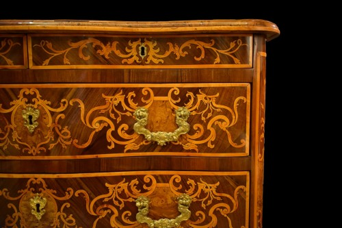 Louis XV - 18th Century, Italian Inlaid Cest of Drawers