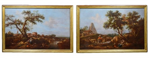 Pair of Archaic Landscapes - Attributed to Giuseppe Zais (1709-1784)