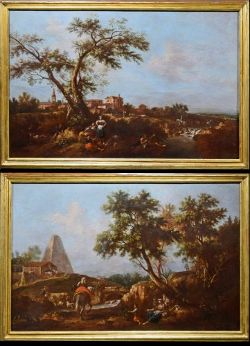 Pair of Archaic Landscapes - Attributed to Giuseppe Zais (1709-1784)  - Paintings & Drawings Style