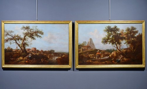 Paintings & Drawings  - Pair of Archaic Landscapes - Attributed to Giuseppe Zais (1709-1784)