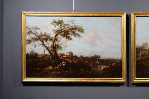 18th century - Pair of Archaic Landscapes - Attributed to Giuseppe Zais (1709-1784)