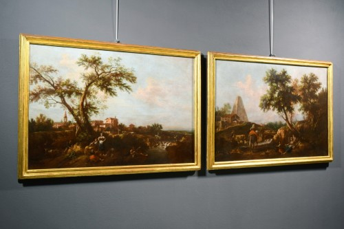 Pair of Archaic Landscapes - Attributed to Giuseppe Zais (1709-1784)  -