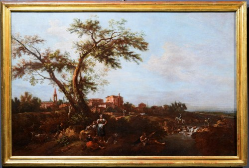 Antiquités - Pair of Archaic Landscapes - Attributed to Giuseppe Zais (1709-1784)