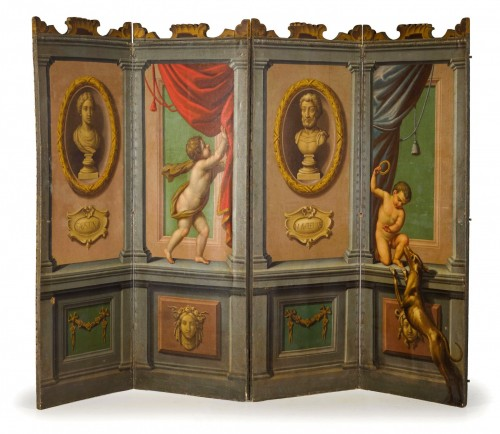 18th century Italian Neoclassical Screen with Trompe L'œil  - Decorative Objects Style Louis XVI