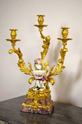 19th Century, Pair of French Gilt Bronze Candlesticks with Porcelain -