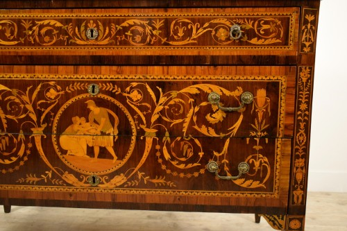 Louis XVI - 18th century, Italian Neoclassical Inlaid Rosewood Chest of Drawers