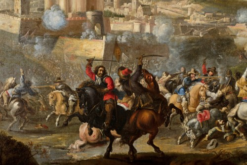 Marzio Masturzo, Battle between cavalry and vessels - 17th Century - Paintings & Drawings Style