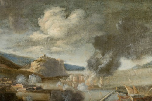 Paintings & Drawings  - Marzio Masturzo, Battle between cavalry and vessels - 17th Century