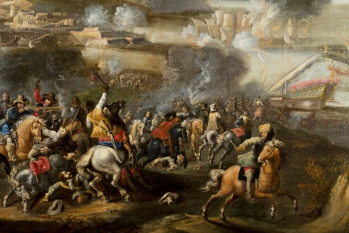 17th century - Marzio Masturzo, Battle between cavalry and vessels - 17th Century