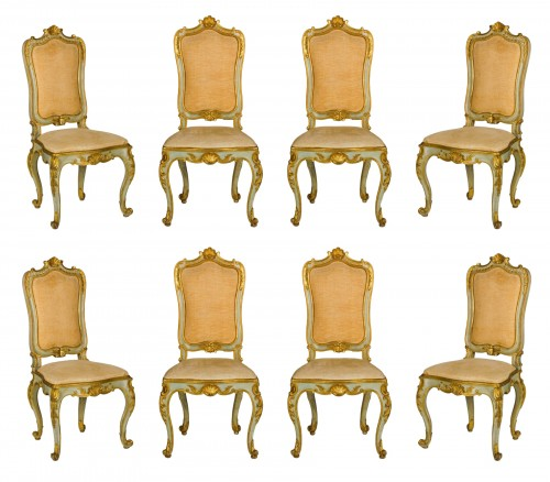 19th Century, 8 Italian Lacquered Gilt wood Chairs