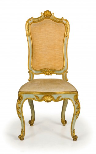 19th Century, 8 Italian Lacquered Gilt wood Chairs  -