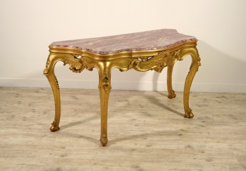 19th century - 19th Century, Venetian Carved Gilt wood Console Table
