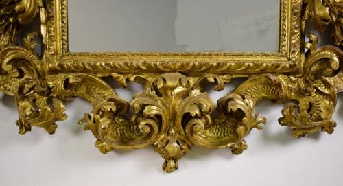 18th Century, Italian Baroque Gilt wood Mirror - Mirrors, Trumeau Style Louis XIV