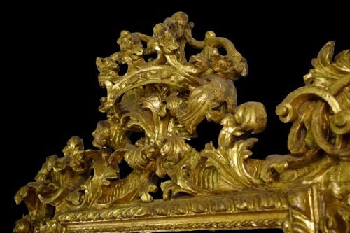 Louis XIV - 18th Century, Italian Baroque Gilt wood Mirror