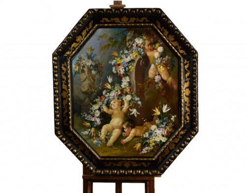 19th century Roman painter Still life with cherubs