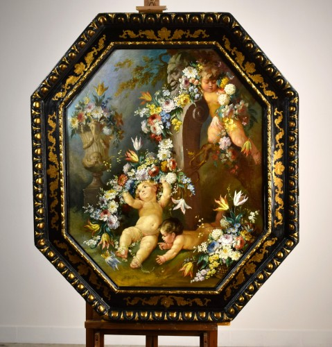 19th century Roman painter Still life with cherubs - Paintings & Drawings Style