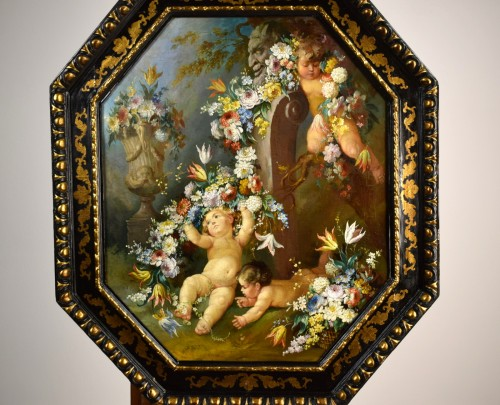 Paintings & Drawings  - 19th century Roman painter Still life with cherubs