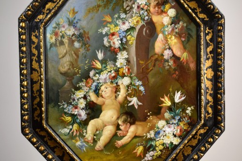 19th century - 19th century Roman painter Still life with cherubs