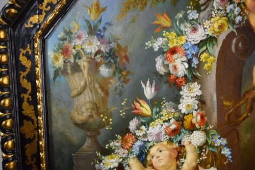 19th century Roman painter Still life with cherubs -