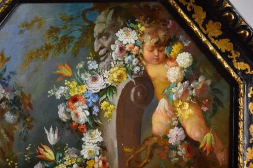 - 19th century Roman painter Still life with cherubs