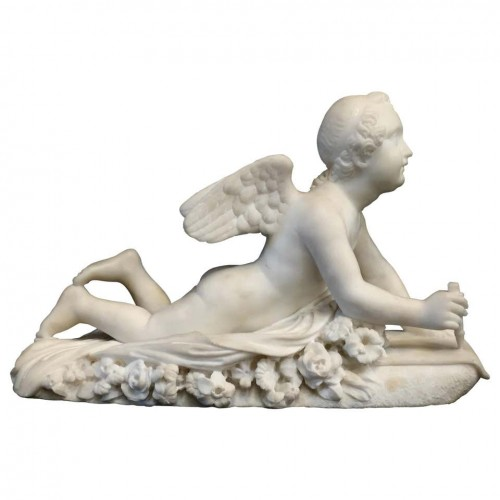 19th Century, Italian White Marble Sculpture by Pompeo Marchesi with Cupid,