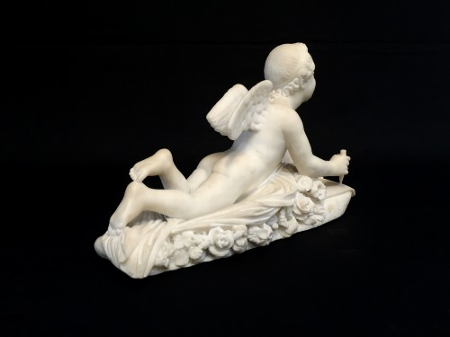 19th century - 19th Century, Italian White Marble Sculpture by Pompeo Marchesi with Cupid,
