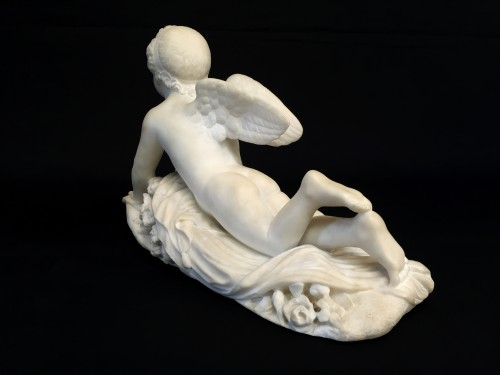 Antiquités - 19th Century, Italian White Marble Sculpture by Pompeo Marchesi with Cupid,