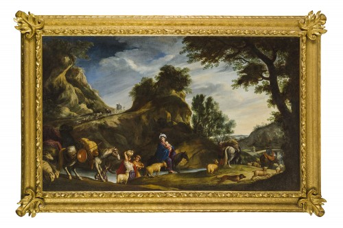 17th Century, Italian School, Oil on Canvas Painting with Flight to Egypt